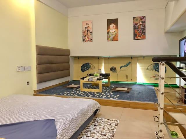 【暖气房】福州南路/香港中路简约日式温馨大床独立卫生间配暖气复式公寓