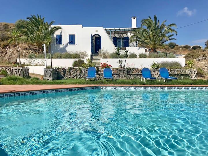 Greek villa with sea & pool view