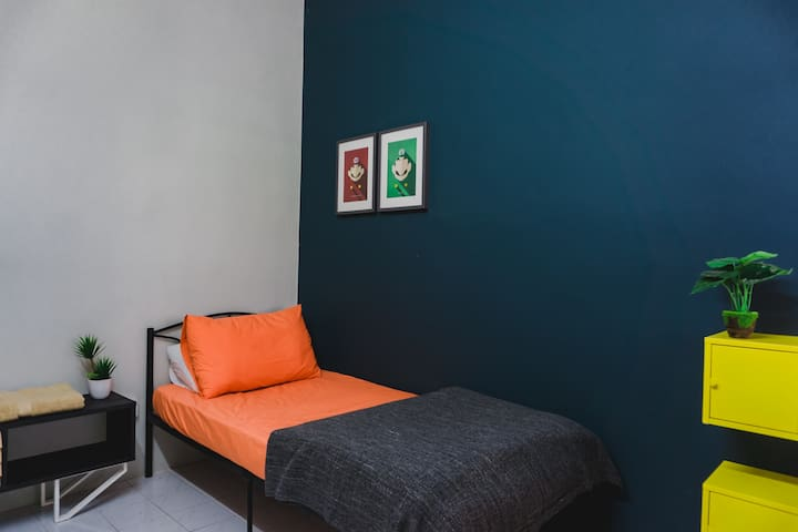 Downstairs Bedroom. A Mario inspired bedroom fill with bright colours!