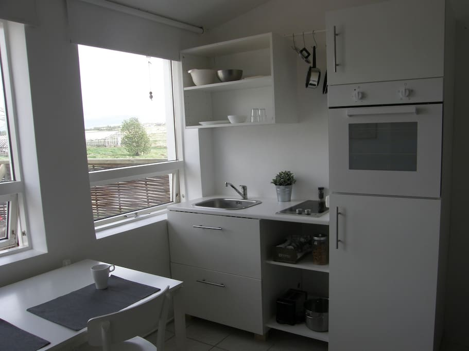 Good kitchen with hob oven and refrigerator.