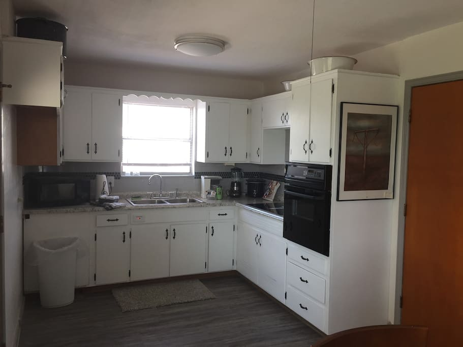 Kitchen ready for you to cook the home made meal for your soldier. Brand new refrigerator, stovetop and build in oven. Toaster, microwave, crockpot, blender Cookware/flatware/dishes/glasses