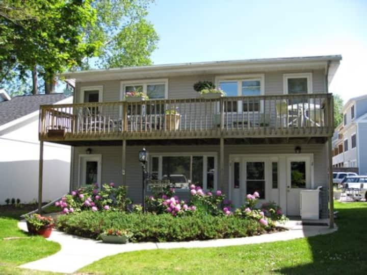 Anchors Away: Nautical downtown Saugatuck abode with balcony and partial river views