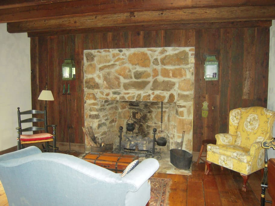 Antique furnishings and the original fireplace