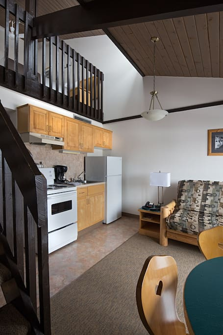 Our gorgeous lofted apartment is cozy and bright.