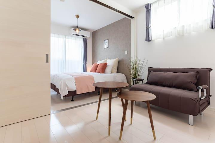 Designer room/4 mins to Namba/FDS Arte
