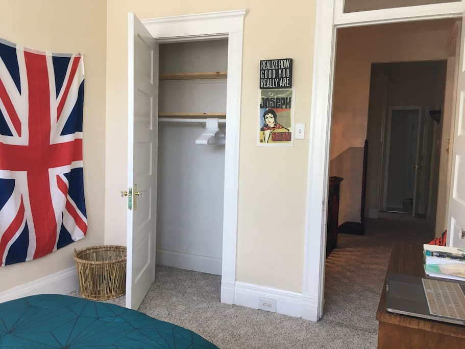 Room is complete with a nice and evenly-spaced closet. Laundry basket is in the corner where you can dispose of already-used towels and other clothing.
