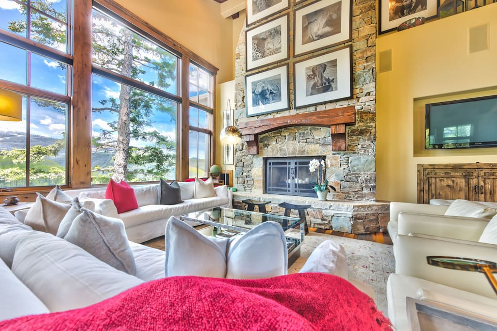 Main Level Living Room with Fireplace, HD TV, Comfortable Furnishings and a Beautiful View