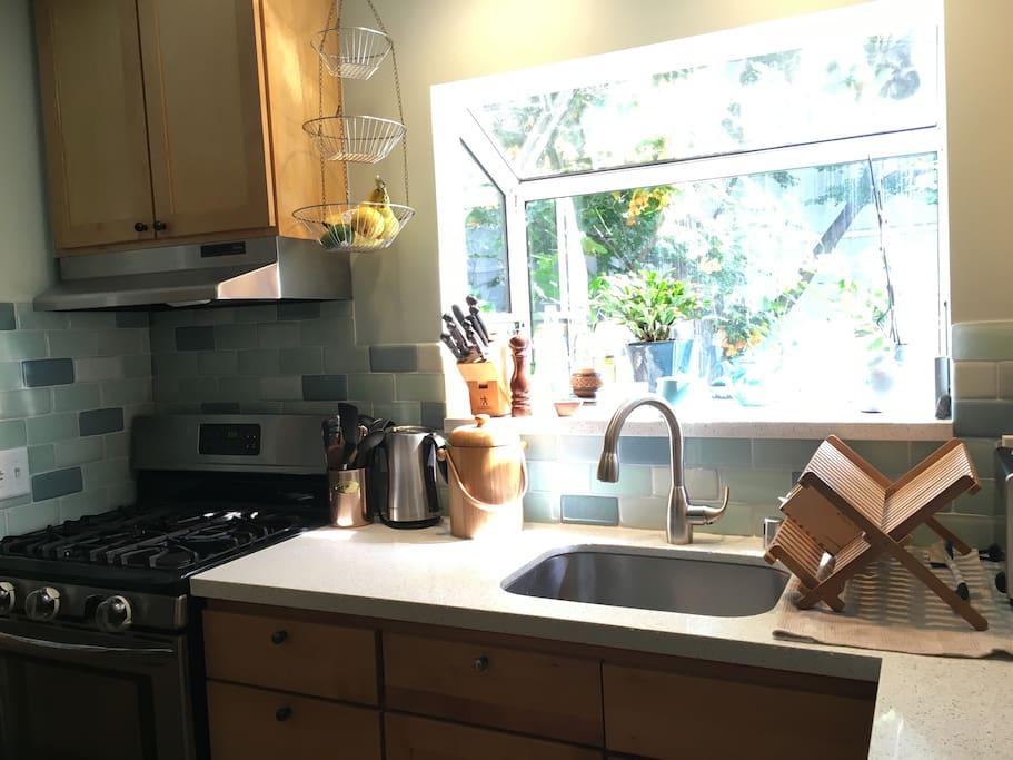 Kitchen has recycled glass backsplash and quartz countertops.