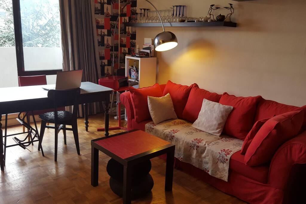 Coin salon/salle à manger, avec une grande table et 4 chaises, ainsi qu'un canapé 3 places.