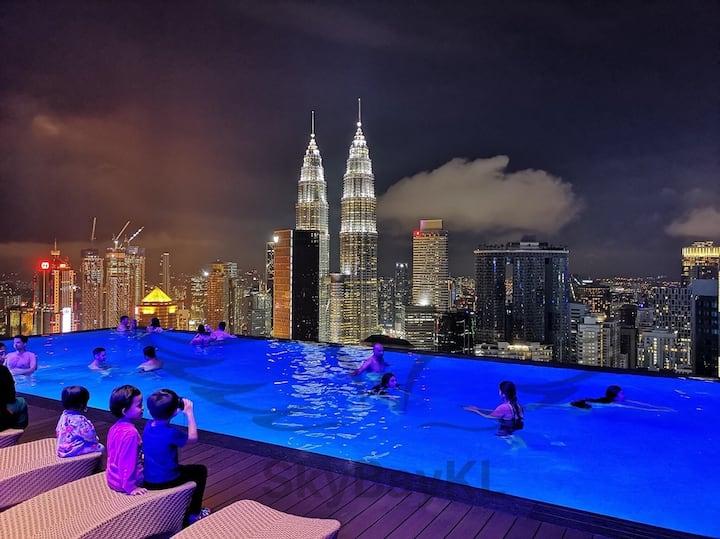 46白金套房吉隆坡最美景观51楼无边际泳池/必住5星级网红酒店/豪华装潢/7分钟走到双子星/超大两房