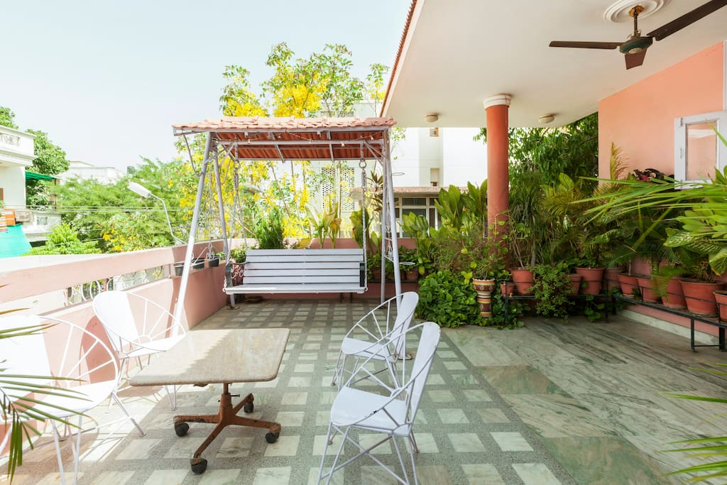 Gree balcony with swing to enjoy your morning and evening
