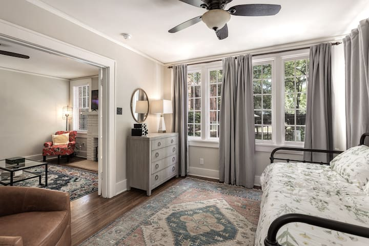 Beautifully decorated front bedroom with large closet.