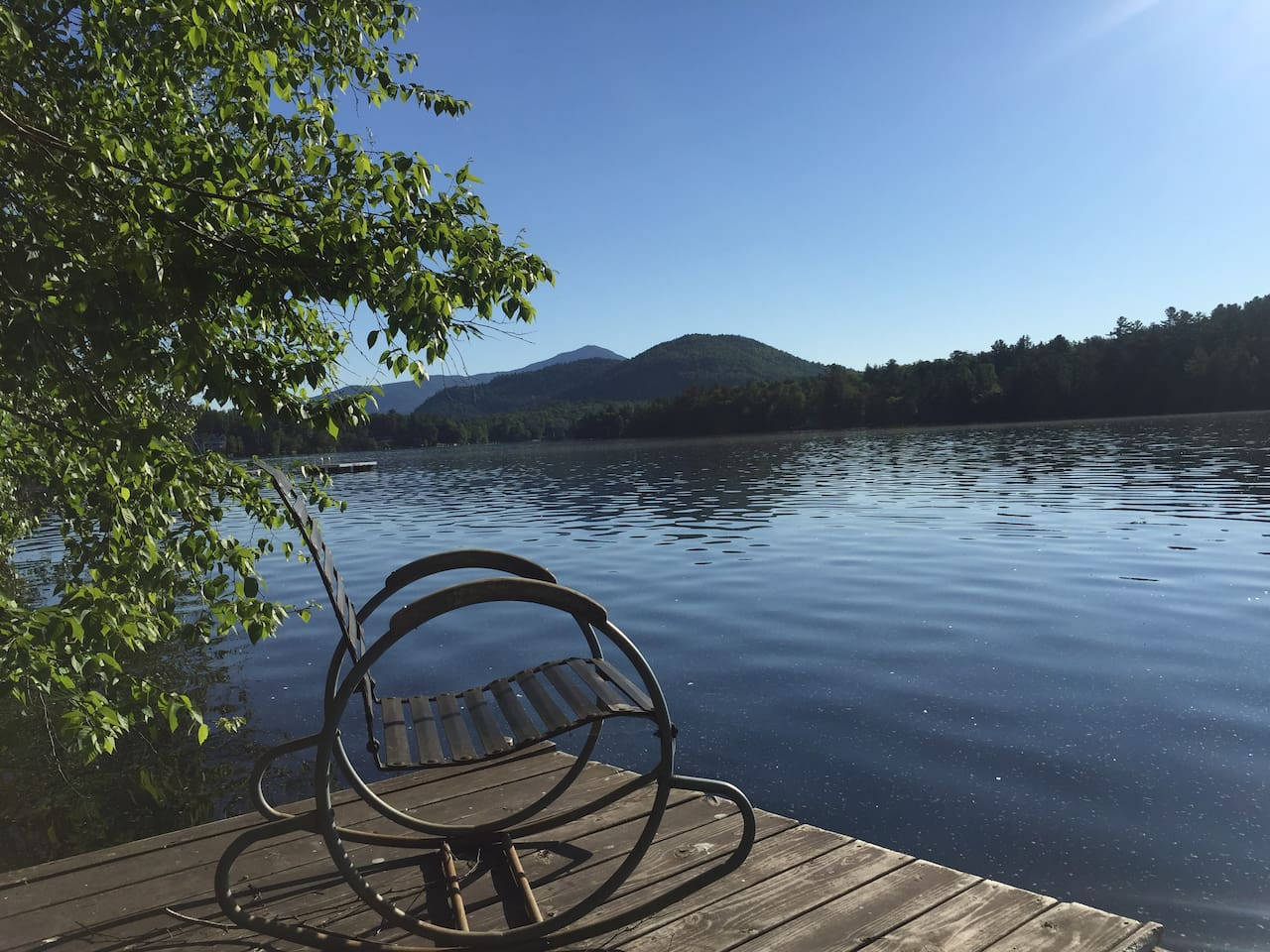 Private Dock and Adirondack Lean-To right on Beautiful Mirror Lake.