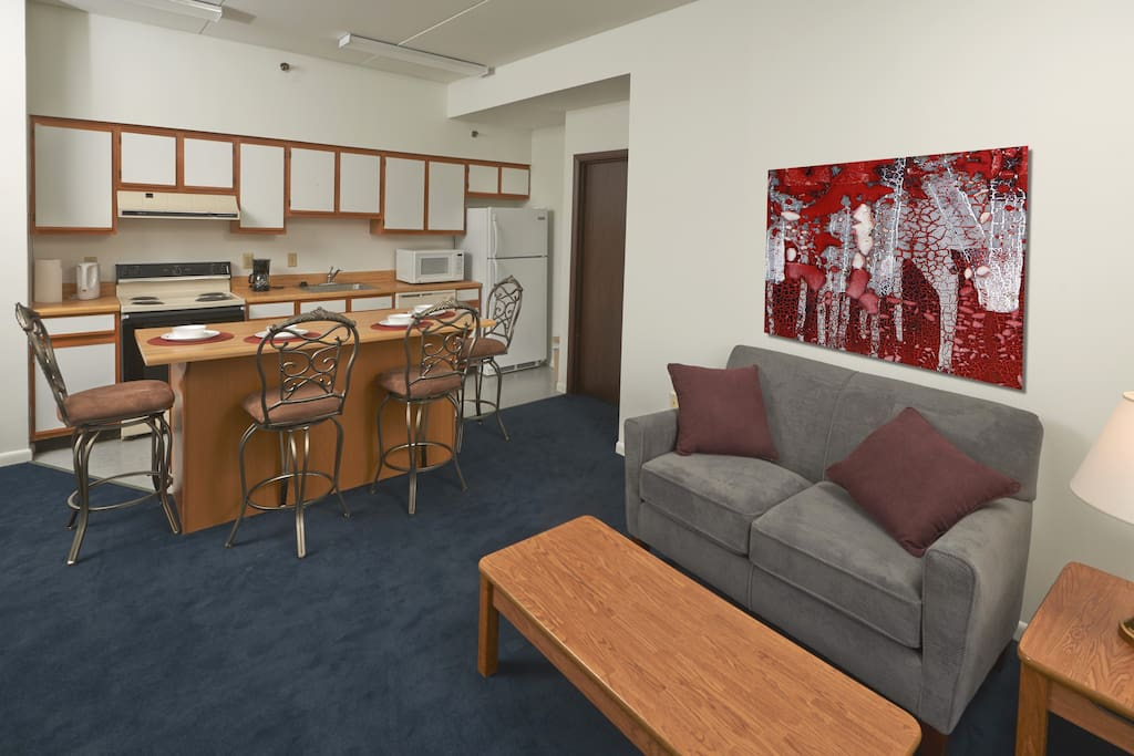 The apartment's living and dining area.