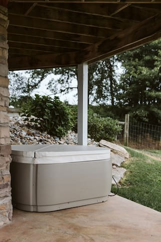 The setting for the hot tub