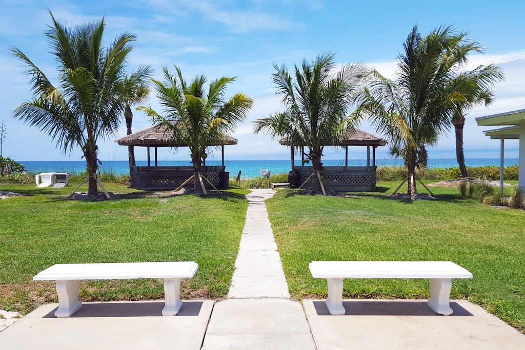 Venture to our twin gazebos overlooking our private beach!