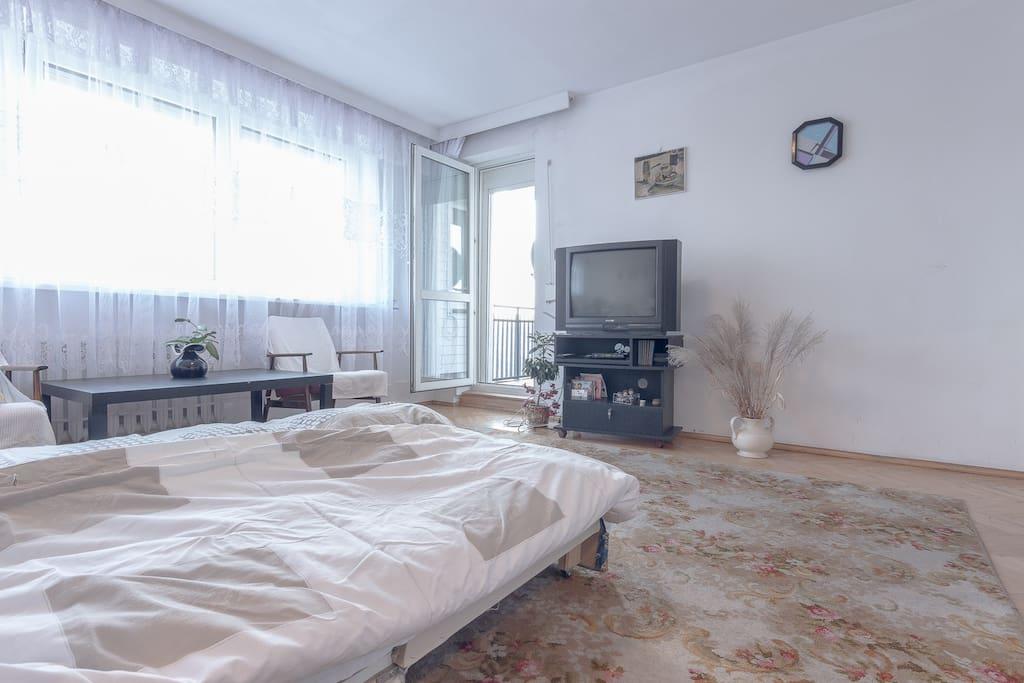 TV and balcony enterance