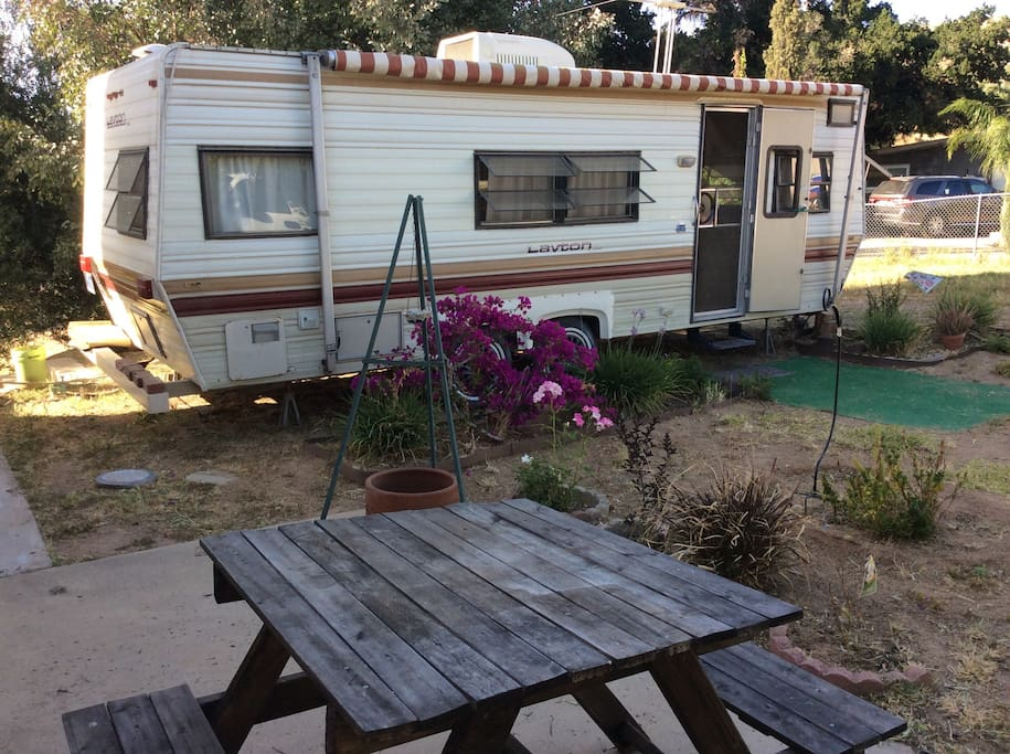 Self contained RV in quiet gated yard