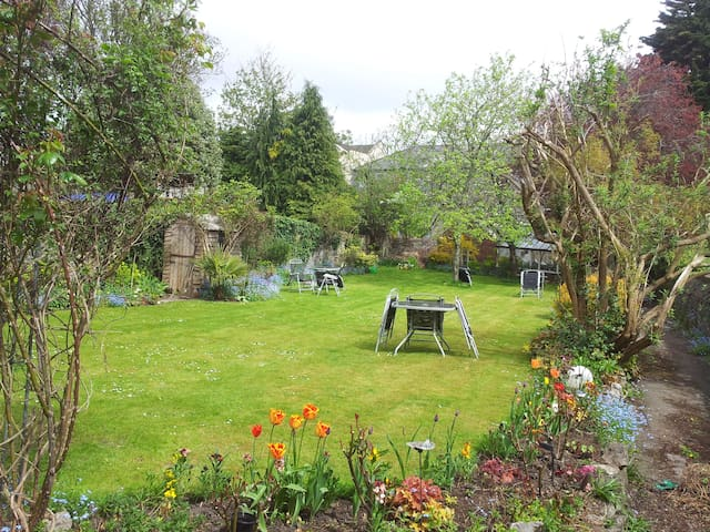 Our rear garden, where guests can relax, weather permitting.
