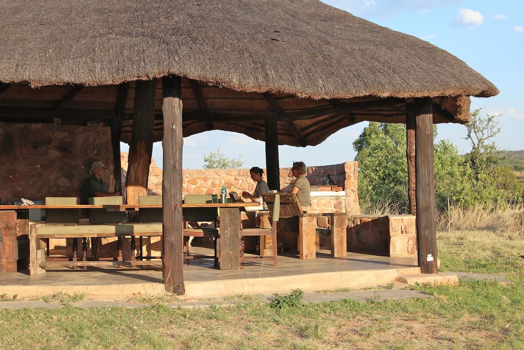 Enjoy sundowners and a braai at the lapa.