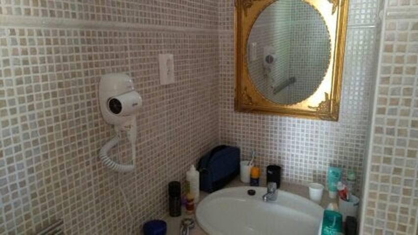 Badkamers met haardroger / Bathrooms with hairdryer / Badezimmer mit Haartrockner