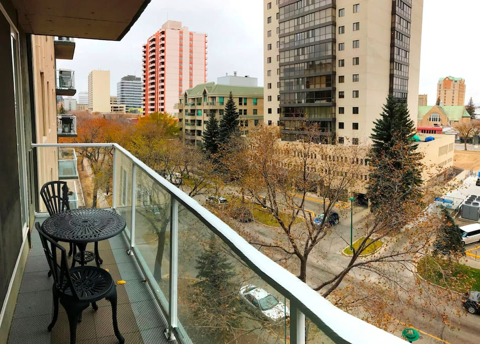Enjoy your coffee and the winter city scenic from your balcony