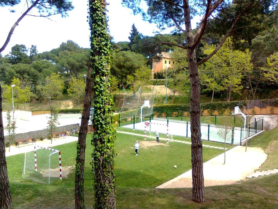 Футбольная и баскетбольная площадки на закрытой охраняемой территории.