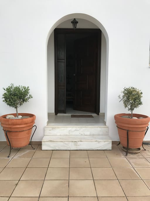 Main entrance with typical greek olive young trees.