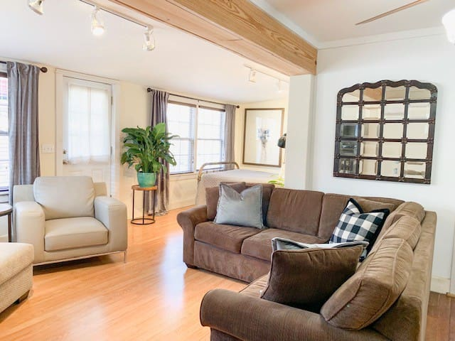 The cozy living room will be the perfect place to relax. There is plenty of comfortable seating and smart TV for your enjoyment.