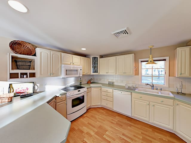 Prepare favorite foods in the remodeled kitchen, fully stocked with all the gadgets you might need.