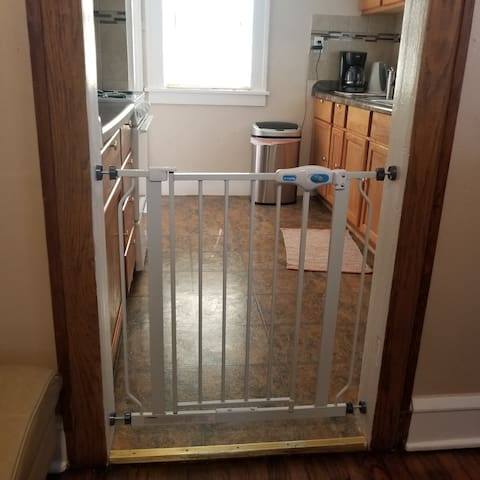 Baby Gate is stored in the basement and available for a quick, tool free installation as needed.