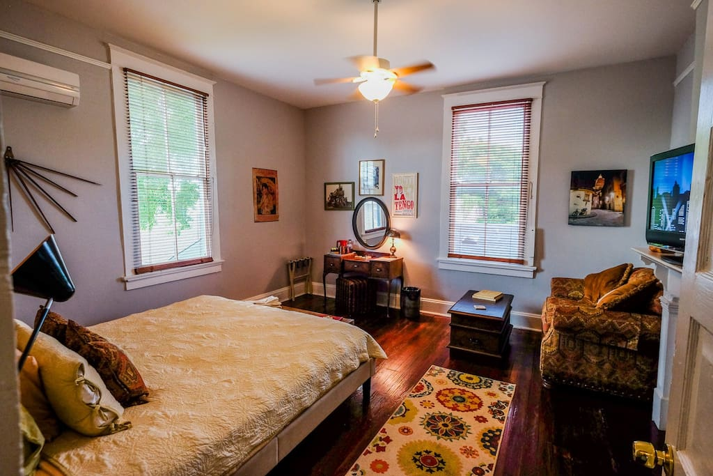 Your private bedroom, with pull out sofa bed & a full king!