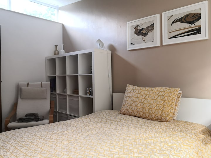 Double bedroom designed for social distancing
