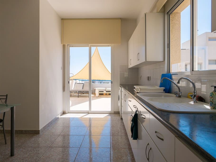 Full equipped kitchen with big terrace