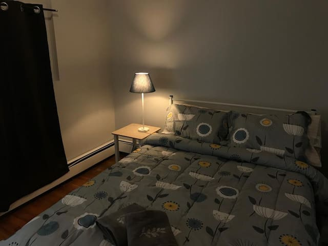 small and comfortable room in Brooklyn.