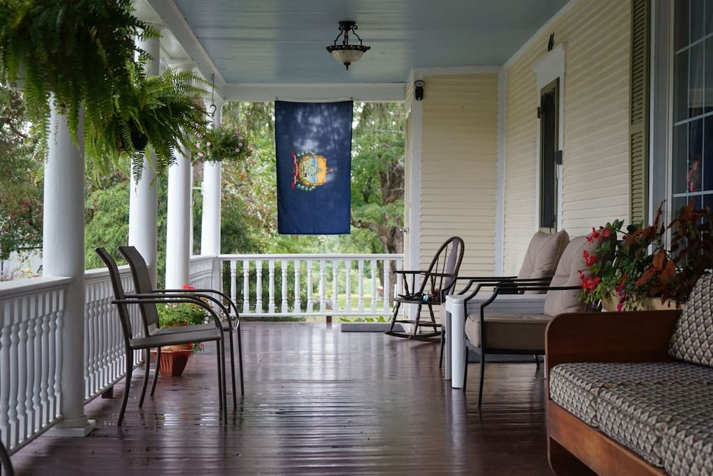 Front porch in the summer -- our favorite place to relax.