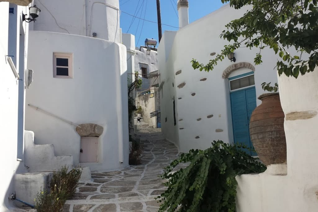 Cobbled streets and the stone cottage entrance