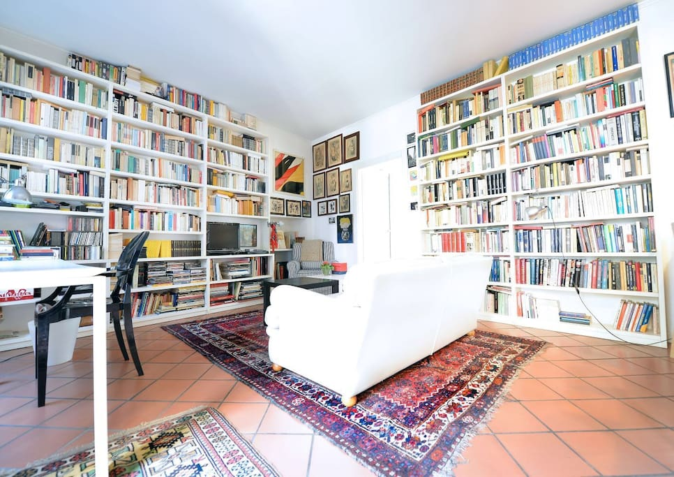 Books on the wall,  a nice leather sofa, a design table to give you a sense of coziness