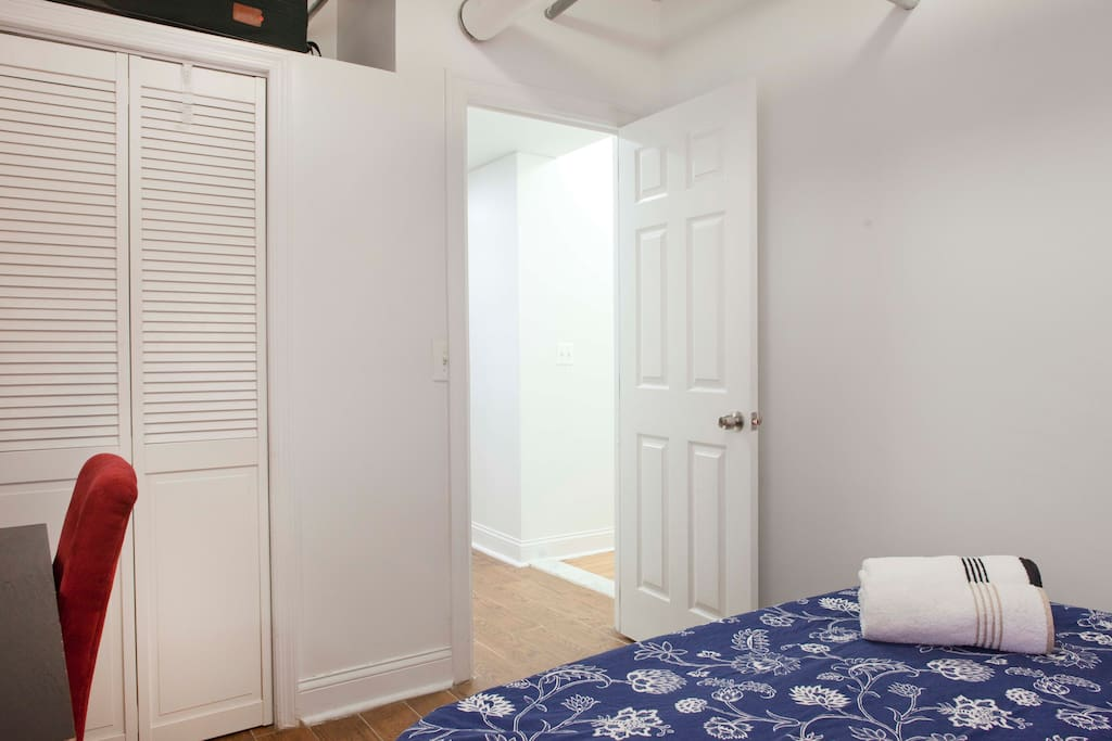 Your bedroom is furnished with a closet, hangers, working desk, chair, towels and fresh drinking water.