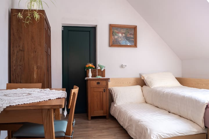Two extra beds can be added (190*70 cm) so up to four people can sleep in the studio.