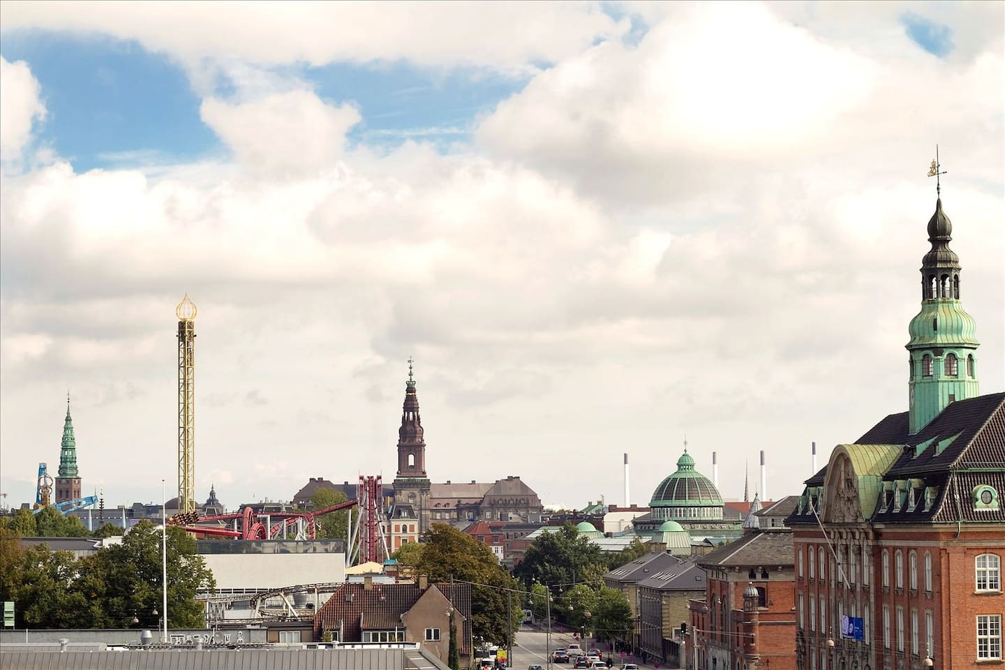Tivoli Garden, Christiansborg ( the government building), Glyptotket (museum). View from our private living room and street door view as well, but not the view from the Airbnb room.