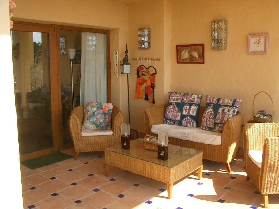 Very spacious balcony/terrace with views of the Mediterranean