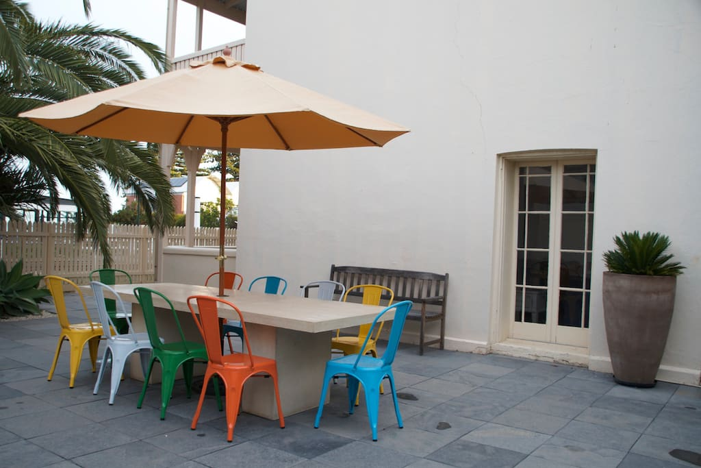 The sheltered courtyard for alfresco meals