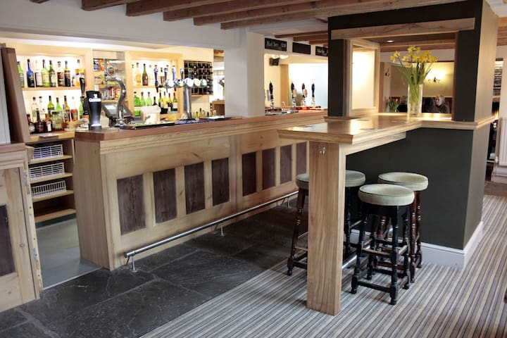 Bar selling cask ales and fine wines