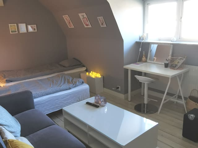 Second bedroom with two single beds and a sofa