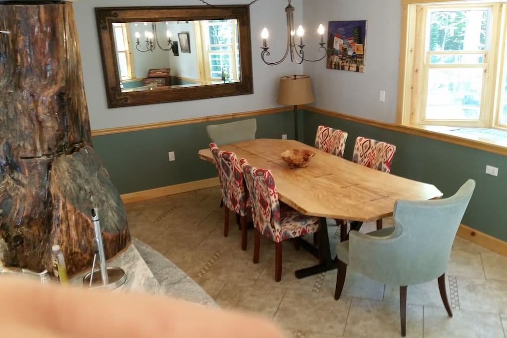 Table in open kitchen seats 12