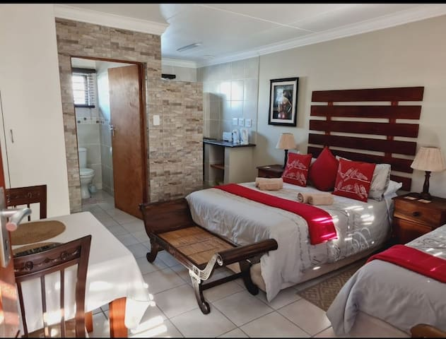 Room and kitchenette with bathroom with a shower.