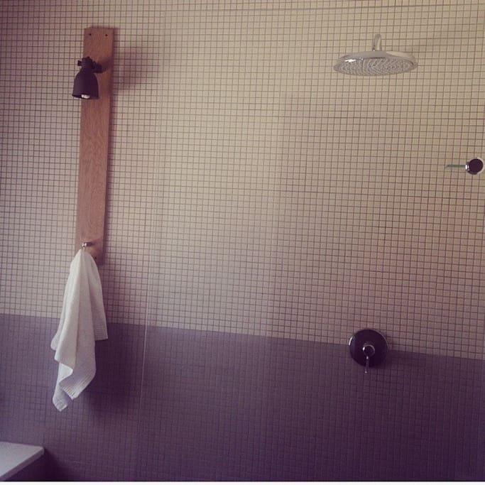 bathroom: shower bath basin