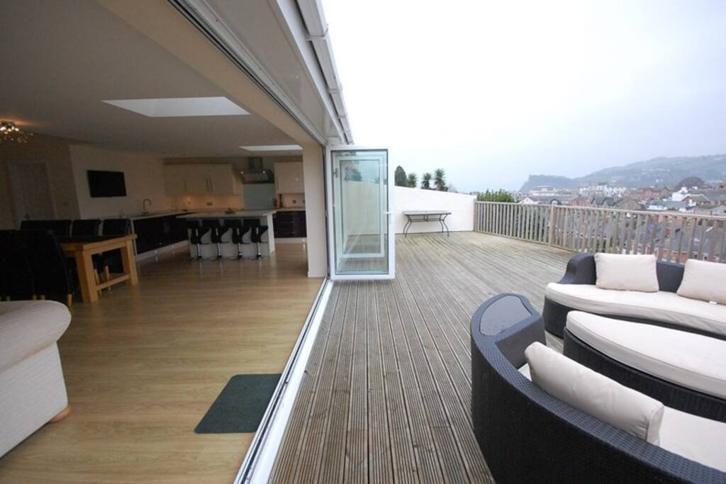 Stunning views from the lounge and decking towards Torbay.