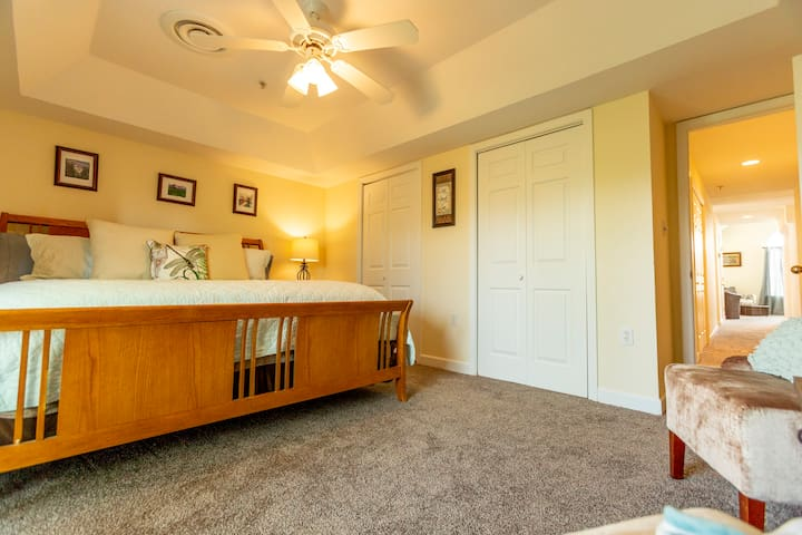 The bedroom boasts two closets